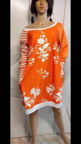 Šaty - FLORAL FOLK -  šaty v dĺžke midi s vačkami (mandarínka s bielou) - 13089953_