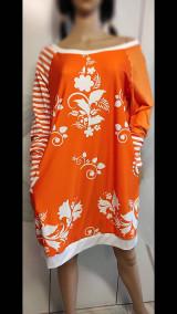 Šaty - FLORAL FOLK -  šaty v dĺžke midi s vačkami (mandarínka s bielou) - 13089954_