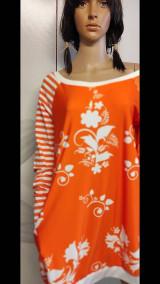 Šaty - FLORAL FOLK -  šaty v dĺžke midi s vačkami (mandarínka s bielou) - 13089955_