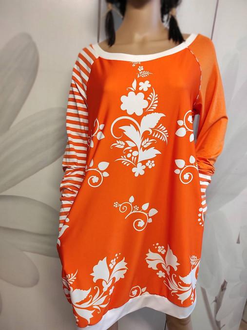 FLORAL FOLK -  šaty v dĺžke midi s vačkami (mandarínka s bielou)