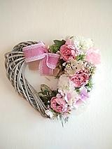 Dekorácie - spomienkové srdce ružové, ivory 30 cm - 13090033_