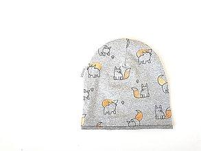 "Detské čiapky - Dvojvrstvová čiapka ""šedé líšky"" - 13089623_"