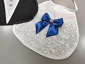 Iné doplnky - Modré svadobné podbradníky pre mladomanželov (štrasové kamienky) - 13089917_