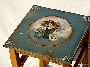 Nábytok - Stolček, stolička v modrosivej farbe - 13089701_