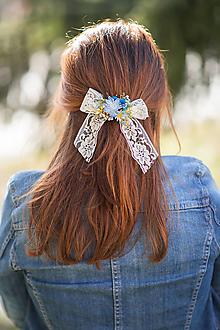 "Ozdoby do vlasov - Spona s mašličkou ""nebo nad lúkou"" - 13092999_"