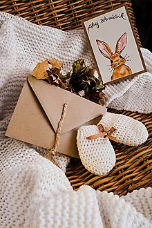 Papiernictvo - Maľovaná pohľadnica so 100%MERINO rukavičkami pre bábätko - 13093052_