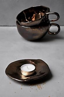Nádoby - tanierik, podšálka, svietnik kruh kovový - 13091387_