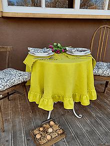 Úžitkový textil - Okrúhly ľanový obrus Lemon Pie - 13093514_