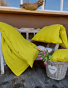 Úžitkový textil - Ľanové posteľné obliečky Lemon Pie - 13093588_