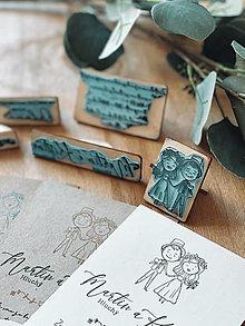 Papiernictvo - Sada pečiatok na svadobné oznámenia postavičky - 13097629_
