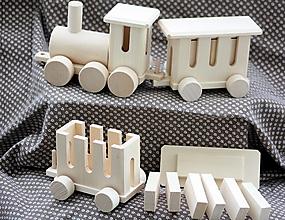 Hračky - Drevené hračky. Vláčik osobný + skladačka - 13095130_