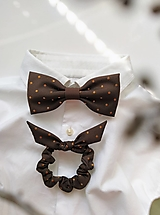 Doplnky - Hnedý set - motýlik & gumička - 13094953_