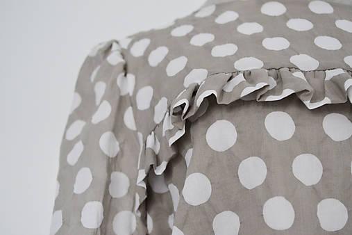 Bodkované bavlnené šaty s elastickým pásom a volánom