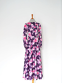 Šaty - Fľakaté bavlnené šaty s polkruhovou sukňou - 13095021_