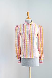 Topy - Upcy bavlnená krepová károvaná blúzka s golierikom - 13095060_
