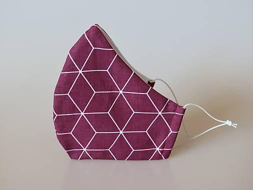 Dizajnové rúško kosoštvorce bordové