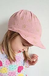"""Detské čiapky - Čiapka """"ULIČNÍČKA"""" - ružová so zlatou potlačou púpav - 13100724_"""