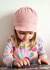 """Detské čiapky - Čiapka """"ULIČNÍČKA"""" - ružová so zlatou potlačou púpav - 13100728_"""