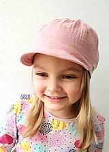 """Detské čiapky - Čiapka """"ULIČNÍČKA"""" - ružová so zlatou potlačou púpav - 13100731_"""