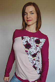 Tričká - Dámske tričko s dlhým rukávom Violet Poppies - 13101926_