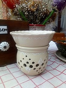 Svietidlá a sviečky - Maxi aromalampa - krémová s bielym - 13099112_