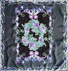Šatky - Ozveny noci-hodvábna maľovaná šatka - 13099715_