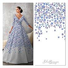 Grafika - NEŽNÁ modrá/grafika na potlač látky/farebné varianty - 13101126_