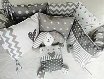 Textil - Sivo-biely set do postieľky :-) - 13099396_