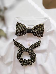 Doplnky - Čierno-žltý set - motýlik & gumička - 13101622_