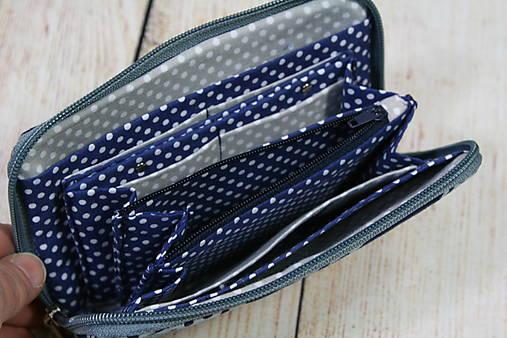 modrotlačová peňaženka na zips Miša 2