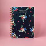 Papiernictvo - Kvetovaný modro - farebný dizajnový zápisník Gavine - 13103166_