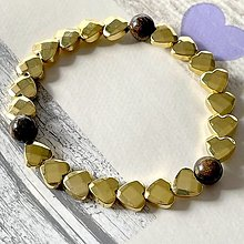 Náramky - Elastic Gold Hematite Heart Bronzite Bracelet / Elastický náramok opalit, hematit zlatý srdce - 13105017_
