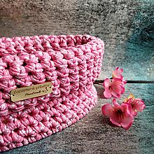Košíky - Sakura Cherry   štýlový háčkovaný košík - 13107382_