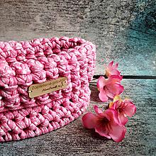 Košíky - Sakura Cherry | malý háčkovaný košík - 13107391_