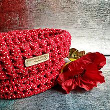 Košíky - Red Poppy | malý háčkovaný košík - 13107452_