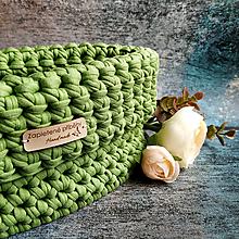 Košíky - Pistachio Creamy   háčkovaný košík - 13107476_