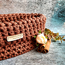 Košíky - Cinnamon   štýlový háčkovaný košík - 13107715_