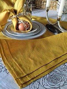 Úžitkový textil - Ľanový štvorcový obrus plisé Mango - 13103473_