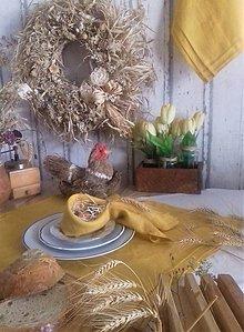 Úžitkový textil - Ľanový štvorcový obrus plisé Mango - 13103587_