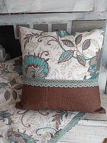 Úžitkový textil - Vankúš   kombinovaný s hnedou - 13107566_