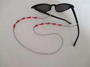 Iné doplnky - Retiazka na okuliare - červené perly - chirurgická oceľ - 13104548_