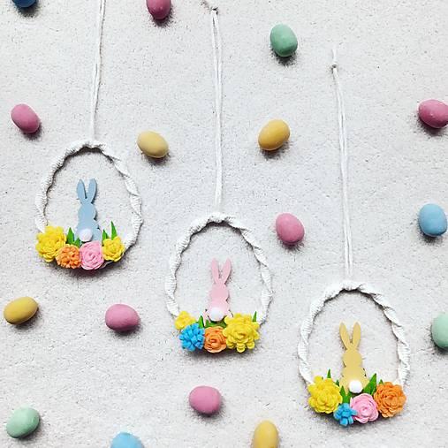 Dekorácie - Makramé vajíčka so zajačikom - 13103837_