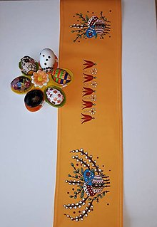 Úžitkový textil - Maľovaný obrus stredový - oranžový, 20 x 134 cm - 13104252_
