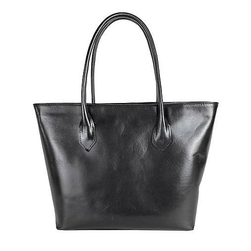 Kabelky - Dámska kožená SHOPPER kabelka v čiernej farbe - 13104525_