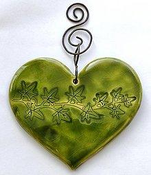 Dekorácie - Závesná dekorácia -  keramické srdce - 13106127_