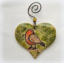 Dekorácie - Závesná dekorácia - keramické srdiečko - 13106220_