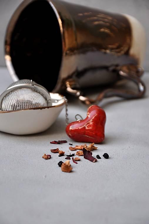 sitko na čaj srdce  (Červená)