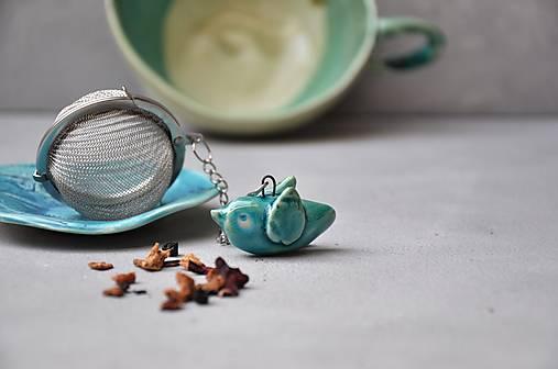 sitko na čaj vtáčik tyrkysový
