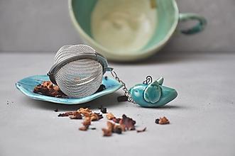 Pomôcky - sitko na čaj vtáčik tyrkysový  - 13104092_