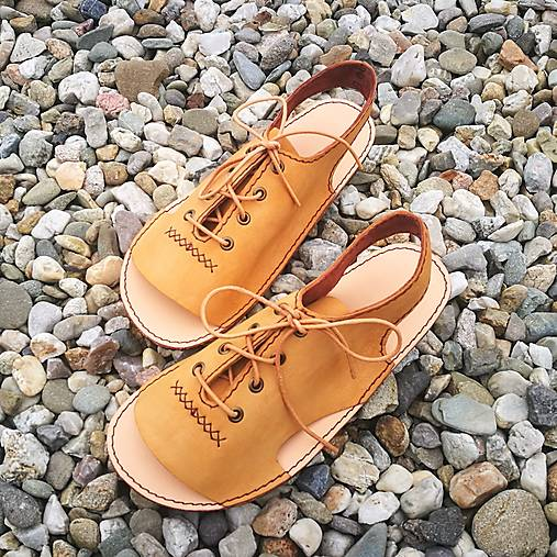 Obuv - Bombit-ki barefoot sandálky šněrovačky camel - 13105893_